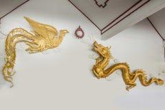 Drago e Phoenix cinesi Fotografia Stock Libera da Diritti