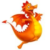 Dragão feliz de sorriso bonito do vetor como desenhos animados ou brinquedo Fotografia de Stock
