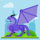 Dragão mau clássico medieval Ilustração lisa dos desenhos animados do vetor Imagens de Stock