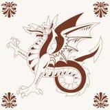 Dragão medieval do vintage (Wyvern) Foto de Stock