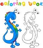 Drago-mostro dell'arcobaleno del libro da colorare Illustrazione Vettoriale