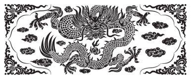 Drago nero con la nuvola e la linea cinese Immagine Stock Libera da Diritti