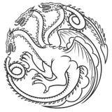 Drago nero del tatuaggio Illustrazione Immagine Stock