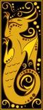 Drago nero e d'oro dell'oroscopo cinese stilizzato Immagine Stock
