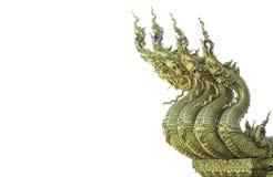 Drago o re tailandese della statua dei Nagas su fondo bianco Fotografia Stock Libera da Diritti