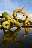 Drago o re tailandese della statua del Naga Immagini Stock Libere da Diritti