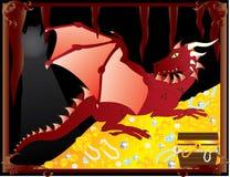 Drago rosso con i tesori Fotografia Stock Libera da Diritti