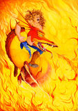 Drago rosso in fiamma Fotografia Stock