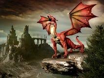 Drago rosso sulla roccia Fotografie Stock