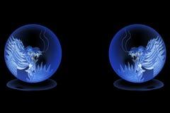 Drago in sfera di cristallo Fotografia Stock Libera da Diritti