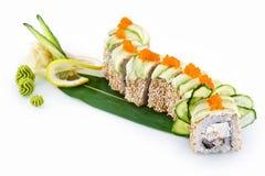 Drago verde dei sushi isolato su fondo bianco immagine stock