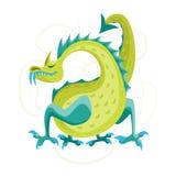 Drago verde dell'animale di fantasia del fumetto Vettore Fotografia Stock