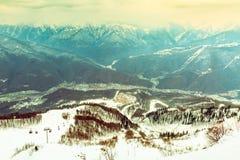 dragobrat横向山乌克兰冬天 颜色口气 库存照片