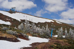 Dragobrat, the spring Carpathians. Spring in the Ukrainian Carpathians against the backdrop of wild snow tops and frosted spruces are shelters and ski slopes Stock Images