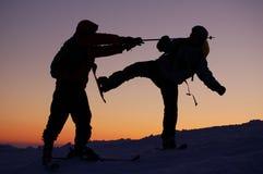 On Dragobrat. Sunset in the Carpathian mountains, Ukraine Royalty Free Stock Photos