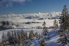 Dragobrat Ukraine. Alpine scenic Ski resort. Cloudy mountain landscape. Dragobrat, Carpathian mountains, Ukraine Stock Photo