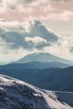 Dragobrat Ukraine. Alpine scenic Ski resort. Cloudy mountain landscape. Dragobrat, Carpathian mountains, Ukraine Royalty Free Stock Images
