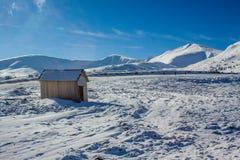 Dragobrat Ukraine. Alpine scenic Ski resort. High mountain, old barn, winter landscape Royalty Free Stock Photography