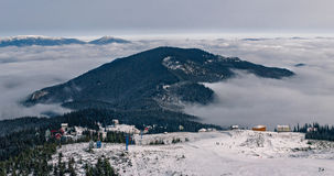 Dragobrat Ukraine. Alpine scenic Ski resort. Dragobrat Ukraine. Alpine scenic panoramic Ski resort Stock Images