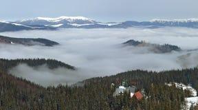Dragobrat Ukraine. Alpine scenic Ski resort. Winter, Dragobrat, Ukraine. Alpine scenic  Ski resort home. Above The Clouds Stock Images