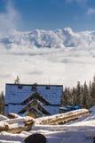 Dragobrat Ukraine. Alpine scenic Ski resort. Winter House above the clouds. Dragobrat Ukraine. Alpine scenic Ski resort Stock Image