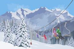 Dragobrat, Ukraine Aufzüge für das Ski fahren Vektor Lizenzfreie Stockbilder
