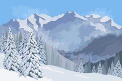 Dragobrat, Ukraine Tannen im Schnee Vektor Lizenzfreie Stockbilder
