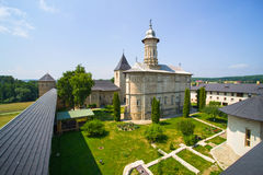 Dragomirna fortified monastery. Church of Dragomirna Monastery surrounded by stone walls, for defending in medieval period Stock Image