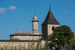 Dragomirna monastery with one tower. In Bukovina, (Bucovina), Moldavia (Moldova Royalty Free Stock Photo