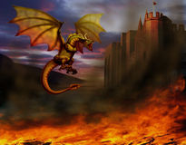 Dragon. Fire-breathing dragon flying around the castle, and around on the ground is burning all Stock Image