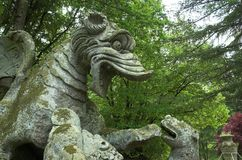 The Dragon. In Bomarzo ville of wandares known as the moster park Stock Images