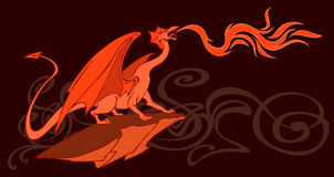 Dragon. Vector illustration of a fantasy fire-breathing dragon on the background of beautiful ornament Royalty Free Stock Photos