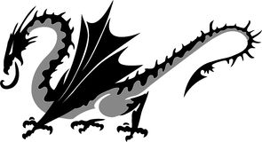 Dragon. For the emblem, a rare type of , winged  looks like a dinosaur Royalty Free Stock Photo