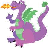 Dragon. Happy purple dragon with green wings breathing fire Stock Images