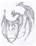 Dragon 2. Pencil technique - the dragon - hand made Stock Photo