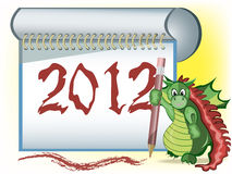 A dragon with 2012. A dragon has written 2012 in notebook and show gesture with thumb up vector illustration