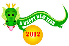 Dragon 2012. Cute Happy New Year dragon illustration Stock Photography