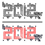 Dragon 2012 in mayan style. Vector image of Dragon making 2012 in mayan style Stock Photo