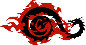 Dragon. Black and white drawing of a winged dragon breathing red flames Stock Photos