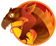 Dragon. Red dragon on a fire background Stock Images