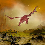 Dragon. 3d render of a landscape with dragon Royalty Free Stock Images
