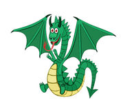Dragon. Funny green dragon isolated vector Stock Photos