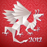 Dragon. Year dragon, calendar 2012, origami, vector illustration royalty free illustration
