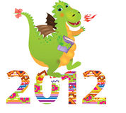 Dragon. Illustration of a green dragon - a symbol of 2012 Royalty Free Stock Images
