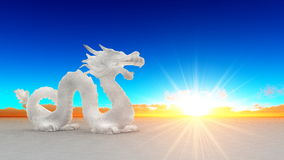 Dragon. Image of white dragon and horizon Royalty Free Stock Photography