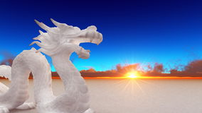 Dragon. Image of white dragon and horizon Royalty Free Stock Photos