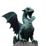 Dragon. Green dragon statue in ljubljana Royalty Free Stock Image