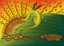 Dragon. Green dragon is sitting on the top of the hill under the rays of setting (or rising) sun vector illustration