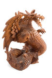Dragon. Indonesian  Wooden dragon isolated on white Royalty Free Stock Image