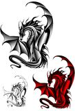Dragon. Vector illustration of dragon in tattoo style Stock Photos